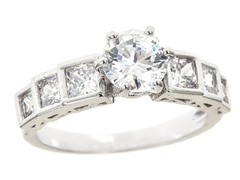 18kt WG Plated Sim Diamond Round/Square Engagement Ring