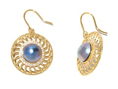 PinWheel Blue Mabe Pearl CZ Earrings