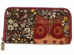 Boho Owl Wallet, Black Floral