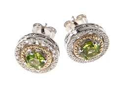 Silver & 14k Gold Peridot Earrings