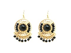 Gold-Plated & Glass Bead Dangling Earrings - Black