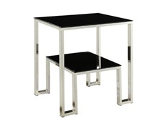 Monogram Side Table w/Black Glass