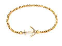 Gold/White Swarovski Elements Anchor Elastic Bracelet