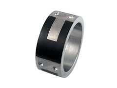 SS Band With Black Ion Plated Design