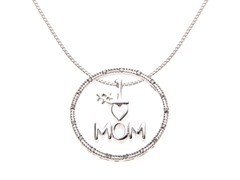 Sterling Silver #1 Mom Circle Pendant