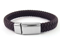 Thick Braided Leather Bracelet, Brown