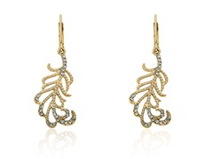 Riccova Country Chic 14K Gold Plated Crystal Leaf Dangle Earring