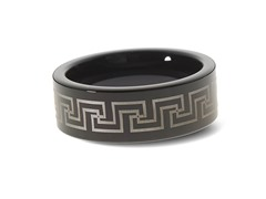Tungsten Two-Tone Greek Key Pattern Ring