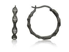 Riccova Harlequin Black Rhodium 3 Clear CZ Bamboo Hoop Earring