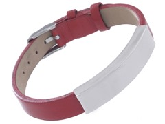Stainless Steel & Genuine Red Leather Id Bracelet