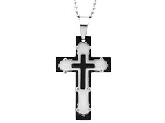 SS Two-Tone Cross Pendant In Metallic & Black