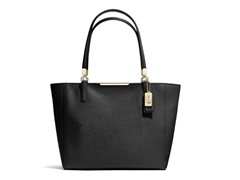 Coach Madison E/W Saffiano Leather Tote - Light Gold/Black