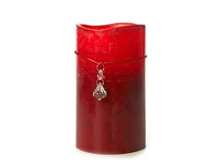 3 LED Mottled Wax Flameless Candle Red 4X7