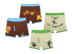Ez Undeez 2-pk Boys Boxer Briefs - Lion-Monkey (M)