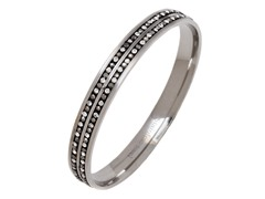 Stainless Steel 2-Lines Crystal Bangle