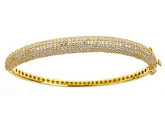 Gold Plated SS Gold Micropave Bracelet