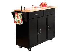 Wood Top Kitchen Cart - Black