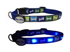 Dog-e-Glow Blue Bones LED Lighted Collar-Large