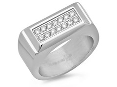 Men's Stainless Steel Ring w/ CZ