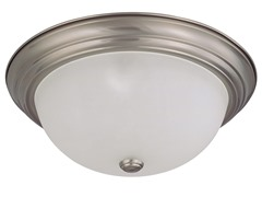 "3-Light 15"" Flush Mount, Brushed Nickel"