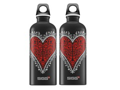 SIGG Heart Black Aluminum Bottle 2pk