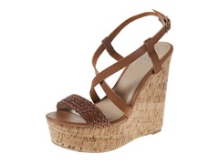 Carrini Strappy Braided Wedge Sandal, Tan