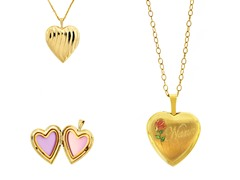 10kt Gold Reversible 'Nana' Heart Locket w/ Enamel Flowers