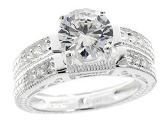 18kt WG Plated SS Diamond Cut Design Sim Diamond Ring Set