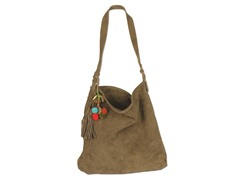 Karma Suede Shoulder Tote, Tan