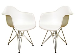Plastic Chair White Set of 2