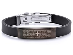 Black Rubber Bracelet w/ Prayer ID Plating Accent
