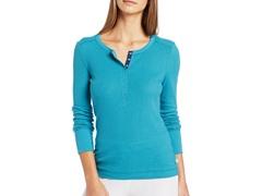 Nautica Sleepwear Women's Pointelle Henley, Teal