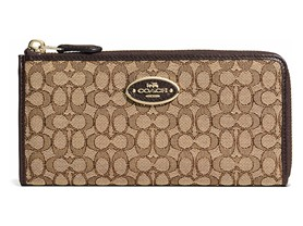 Coach Logo Slim Zip Wallet - Light Gold/Khaki/Brown