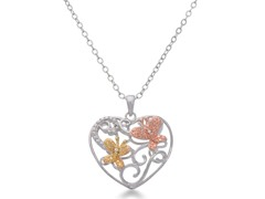 Diamond Butterfly Heart Necklace