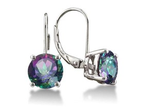 18k White Gold Plated Genuine Mystic Topaz Leverback Earrings