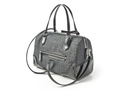 Coach Poppy E/W Satchel Signature Metallic, Black