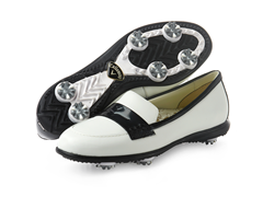 Moccasin Golf Shoes, White/Black