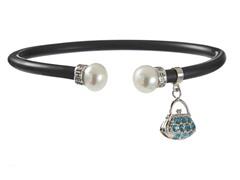 SS Rubber Bracelet w/ Pearl & Charm