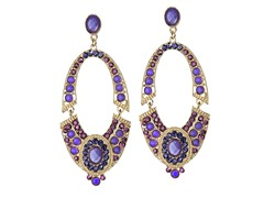 18K Gold-Plated Large Oval Purple Glass beads Dangling Earrings