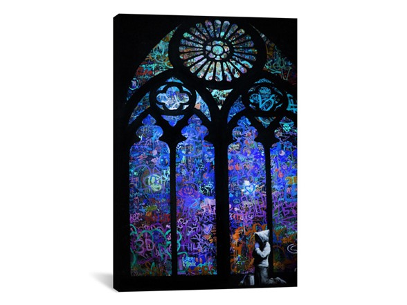 Stained Glass Window II by Banksy Canvas Print HG42008A