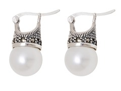 SS Shell White Freshwater Pearl Marcasite Drop Earrings