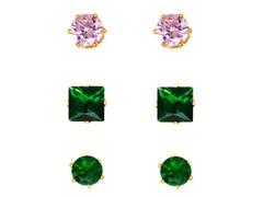 Green & Pink Crystal Princess-cut & Round Set of 3 Stud Earrings