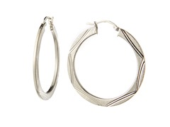 Sterling Silver Flat Diamond Cut Earrings