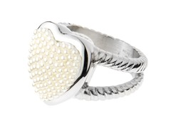 Stainless Steel Pearl Heart Ring