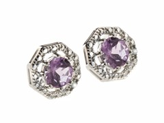 SS Octagon 8-Prongs Amethyst Gemstone w/Diamond Studs