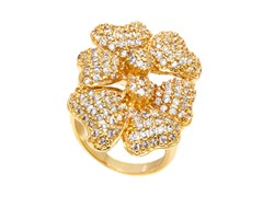18K GP Gold and Simulated Diamond Flower Ring