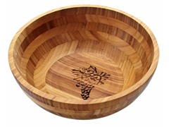 Thirstystone Bamboo Grapes Tan Round Bowl