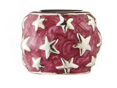 Sterling Silver Bead Red Enamel & Stars