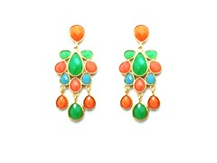 TearDrop Chandelier MultiColor Epoxy Stone Dangling Earrings