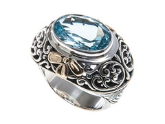18k Gold Accent Oval Blue Topaz Ring